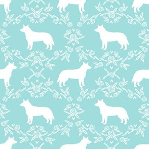 Australian Cattle Dog floral silhouette dog breed pattern lite blue