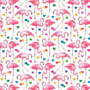 Flamingo Love - watercolor pattern with rainbow hearts - white, small