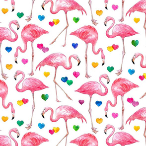 Flamingo Love - watercolor pattern with rainbow hearts - white, large