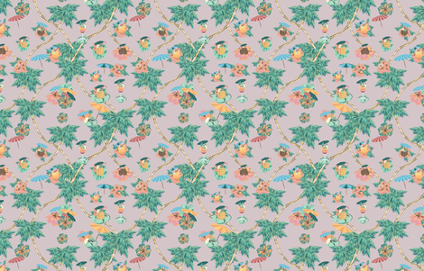 Dusty pink palm cocktails fabric by arrpdesign on Spoonflower - custom fabric