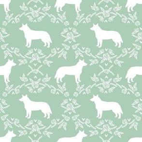 Australian Cattle Dog floral silhouette dog breed pattern mint
