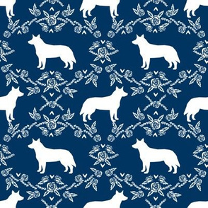 Australian Cattle Dog floral silhouette dog breed pattern navy