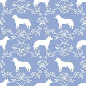 Australian Cattle Dog floral silhouette dog breed pattern periwinkle