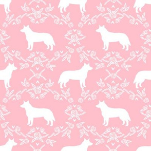 Australian Cattle Dog floral silhouette dog breed pattern pink