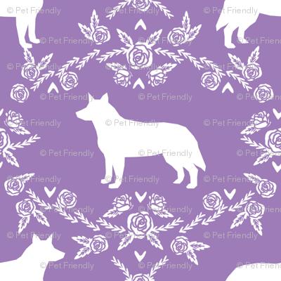 Australian Cattle Dog floral silhouette dog breed pattern purple