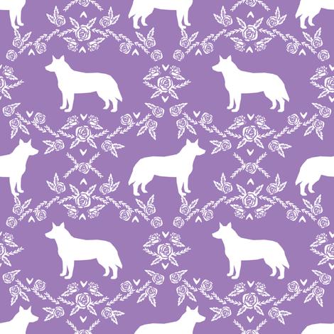 Australian Cattle Dog floral silhouette dog breed pattern purple fabric by petfriendly on Spoonflower - custom fabric