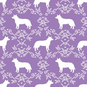 Australian Cattle Dog floral silhouette dog breed pattern purple