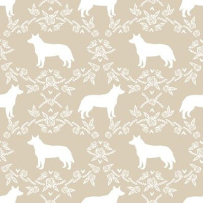 Australian Cattle Dog floral silhouette dog breed pattern sand