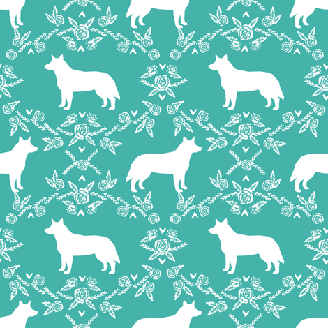 Australian Cattle Dog floral silhouette dog breed pattern turquoise fabric by petfriendly on Spoonflower - custom fabric