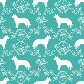 Australian Cattle Dog floral silhouette dog breed pattern turquoise