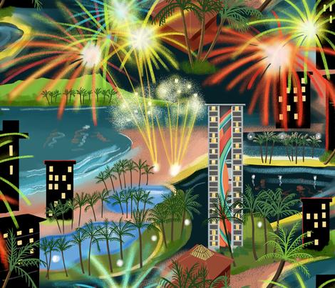 Hawaiian Fireworks  fabric by vinpauld on Spoonflower - custom fabric