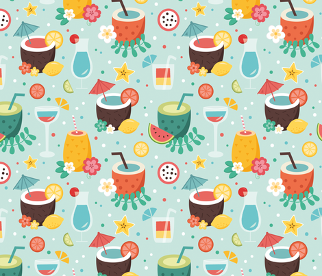 tropical-drinks fabric by la_fabriken on Spoonflower - custom fabric