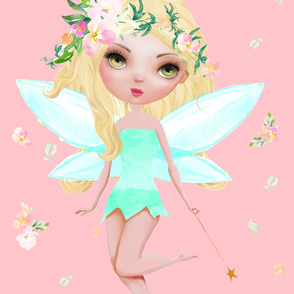 """56""""x72"""" Floral Fairy with Free Falling Flowers / Darker Pink"""