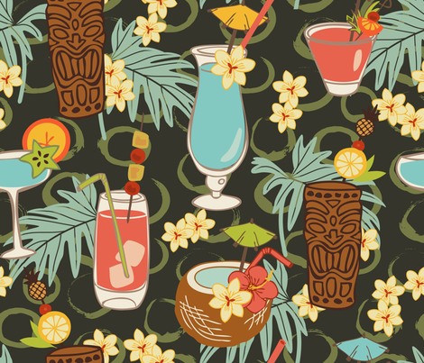 Blue Hawaii  fabric by fernlesliestudio on Spoonflower - custom fabric