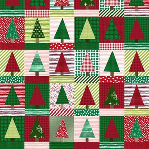 christmas tree block quilt cute christmas cheater quilt fabric xmas holiday  small  version
