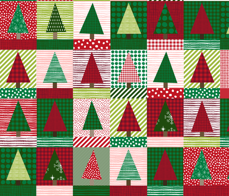 christmas tree block quilt cute christmas cheater quilt fabric xmas holiday fabric by charlottewinter on Spoonflower - custom fabric
