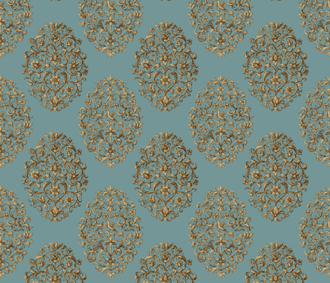 Baroque Birds Blue Tan Brown fabric by wickedrefined on Spoonflower - custom fabric