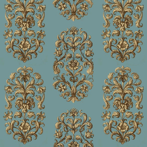 Baroque Flowers Blue Tan Brown