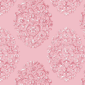 Baroque Birds Dusty Rose White