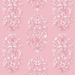 Baroque Flowers Dusty Rose White