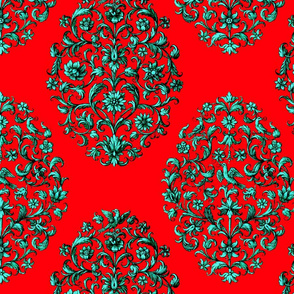 Baroque Birds Red Teal