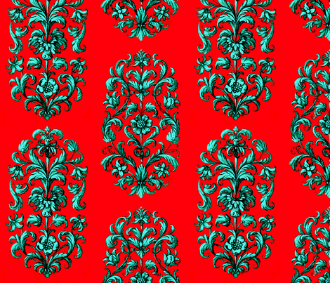 Baroque Flowers Red Teal fabric by wickedrefined on Spoonflower - custom fabric