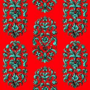 Baroque Flowers Red Teal