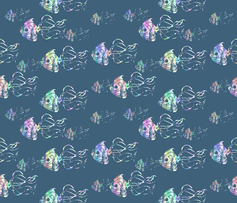Rainbow fish squid light fabric annenicole spoonflower for Rainbow fish fabric