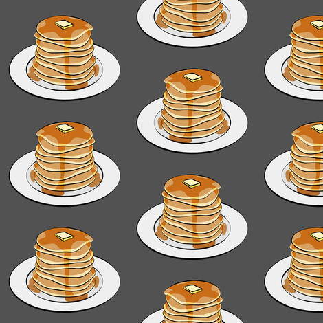 pancakes on grey fabric by littlearrowdesign on Spoonflower - custom fabric