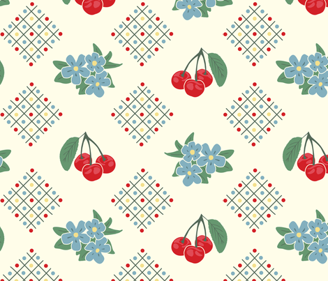 1940's Style Kitchen Cherry Wallpaper in Yellow: Large Print fabric by lioriel on Spoonflower - custom fabric