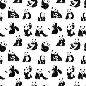 Panda// panda bear cute illustration nursery baby cute pandas family love anna cherkasova textile fabric black and white
