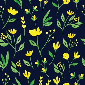 Yellow Florals w Navy - L