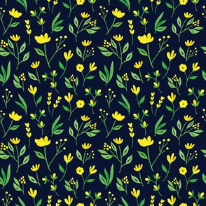 Yellow Floral w Navy - M
