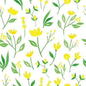 Yellow Florals w White - L