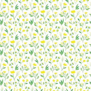 Yellow Florals w White - S
