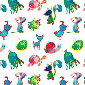 Colorful little baby characters
