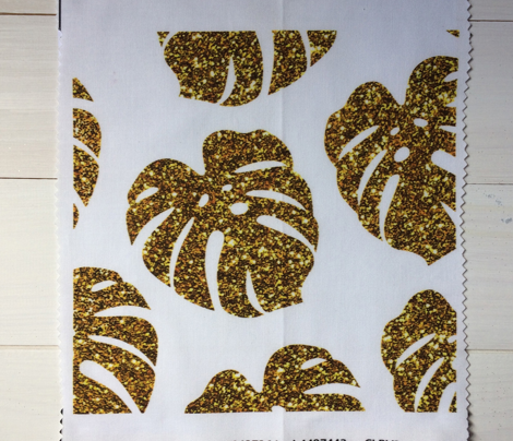 gold glitter monstera leaves - white, large