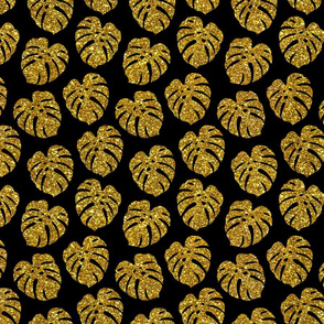 gold glitter monstera leaves - black, small