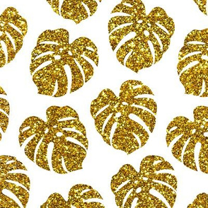 gold glitter monstera leaves - white, small