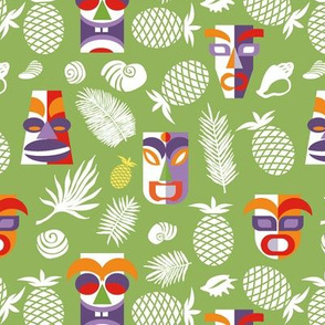 tiki masks green