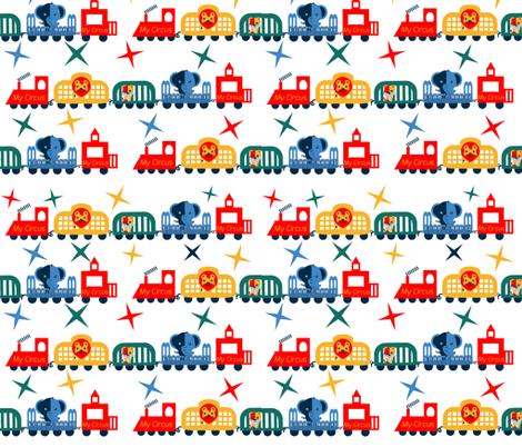 Retro Circus Train Welcome fabric by twilfley on Spoonflower - custom fabric