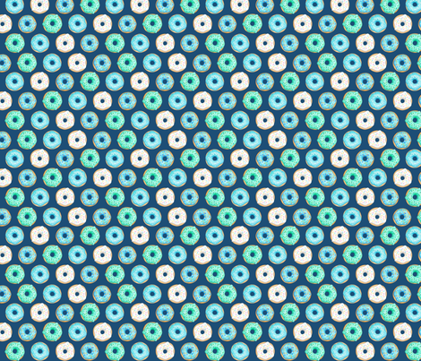 Iced Donuts Blue on navy, 1 inch donuts fabric by hazel_fisher_creations on Spoonflower - custom fabric