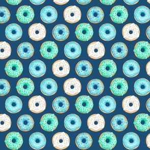 Iced Donuts Blue on navy, 1 inch donuts