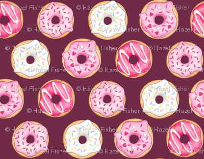 Iced Donuts - Pink on burgundy, 1 inch donuts
