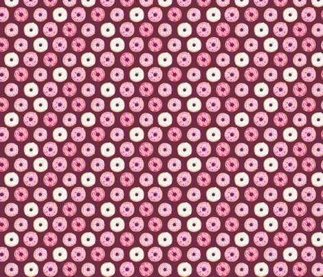 Iced Donuts - Pink on burgundy, 1 inch donuts fabric by hazel_fisher_creations on Spoonflower - custom fabric