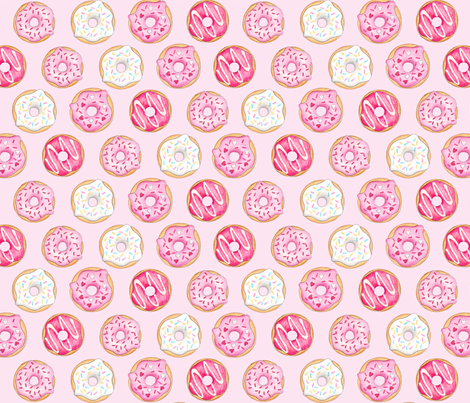 Iced Donuts Pink - on light pink, 2 inch donuts fabric by hazelfishercreations on Spoonflower - custom fabric