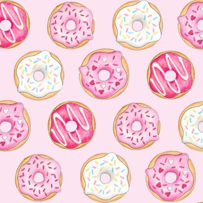 Iced Donuts Pink - on light pink, 2 inch donuts