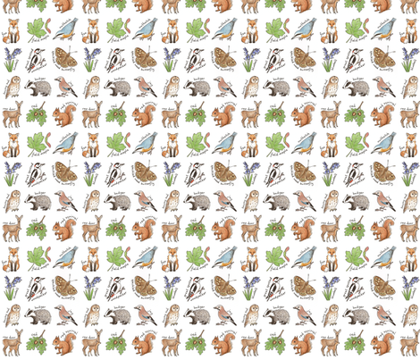 British Woodland Wildlife - smaller scale fabric by hazel_fisher_creations on Spoonflower - custom fabric