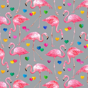 Flamingo Love - watercolor pattern with rainbow hearts - grey, large