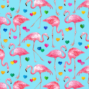 Flamingo Love - watercolor pattern with rainbow hearts - blue, large